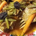 Lamsvlees met Sperziebonen, Wortels, boterzachte gekonfijte Pruimen en Olijven