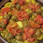 Tajine Lamsgehakt, Aardappelen, Doperwten en gegrilde Paprika
