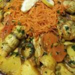 Tajine Scholfilet, Aardappelen, Doperwten en Wortels