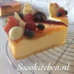 Cheesecake-Kwarktaart-Käsekuchen met Abrikoos en Framboos