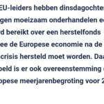 EU-Leiders Bereiken Akkoord Over Herstelfonds Coronacrisis En Begroting