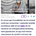 Corona-app CoronaMelder Wordt 1 September Landelijk Beschikbaar