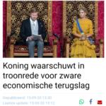 Koning Waarschuwt In Troonrede Voor Zware Economische Terugslag