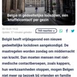 België In Gedeeltelijke Lockdown, Één 'Knuffelcontact' Per Gezin