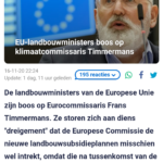 EU-Landbouwministers Boos Op Klimaatcommissaris Timmermans
