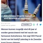 AstraZeneca: Mogelijk Kunnen We Eind December Al Vaccineren
