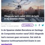 Vliegende Taxi's Vanaf 2022 De Lucht In Bij Spaanse Steden
