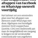 Plan Grapperhaus Voor Aftappen Van Facebook En WhatsApp Sneuvelt Voortijdig