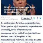 Biden Tekent Na Inauguratie Direct Decreet Voor Terugkeer In Klimaatakkoord
