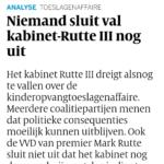 Niemand Sluit Val Kabinet-Rutte III Nog Uit
