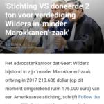 'Stichting VS Doneerde 2 Ton Voor Verdediging Wilders In 'Minder Marokkanen'-Zaak'