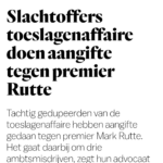 Slachtoffers Toeslagenaffaire Doen Aangifte Tegen Premier Rutte