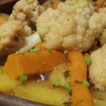 Tagine Vegetarisch; Aardappel, Zoete Aardappel, Pompoen, Wortel en Bloemkool