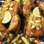 Feestelijke Kippen met gekonfijte boterzachte Pruimen, Olijven, Amandelen en Eieren