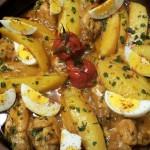 Tajine Borrelkip met Aardappelen, Tomaat, Ei