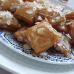 Lemsemen-Remsemen gefrituurd met Honing en Amandelschaafsel