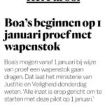Boa's Beginnen Op 1 Januari Proef Met Wapenstok