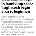 Rechtbank Hoopt Behandeling Zaak-Taghi Toch Begin 2021 Te Beginnen