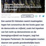 Europees Parlement: Coronanoodtoestand Mag Democratie Niet Schaden