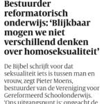 Bestuurder Reformatorisch Onderwijs: 'Blijkbaar Mogen We Niet Verschillend Denken Over Homoseksualiteit'