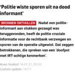 'Politie Wiste Sporen Uit Na Dood Informant'