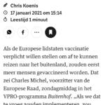 EU-raadsvoorzitter Michel: Te Vroeg Voor 'Vaccinatiepaspoort'
