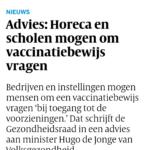 Advies: Horeca En Scholen Mogen Om Vaccinatiebewijs Vragen